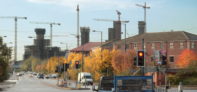 Our Quays Reach office location, taken Nov '08 from the corner of Eccles New Rd & South Langworthy Rd, with Media City taking shape in the background